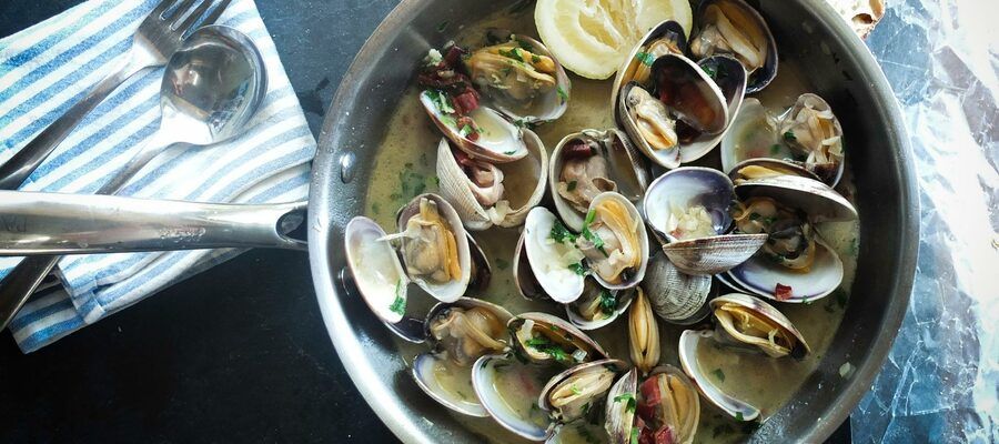 Shellfish in a pan