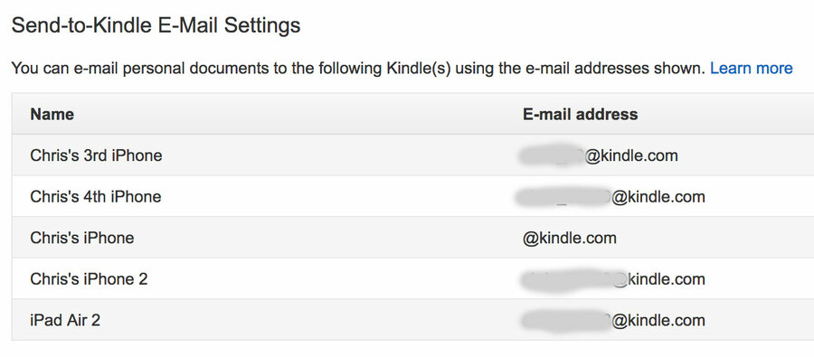 Send to Kindle email settings