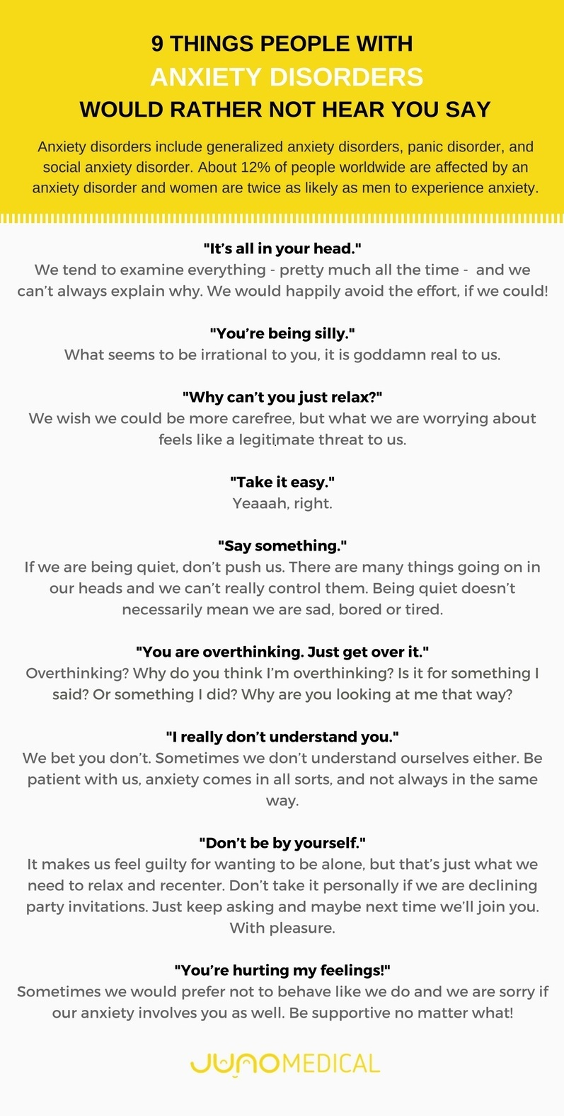Things not to say infographic